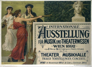 Official poster of the Exhibition of Music & Theater. By Ernst Klimt, 1892.